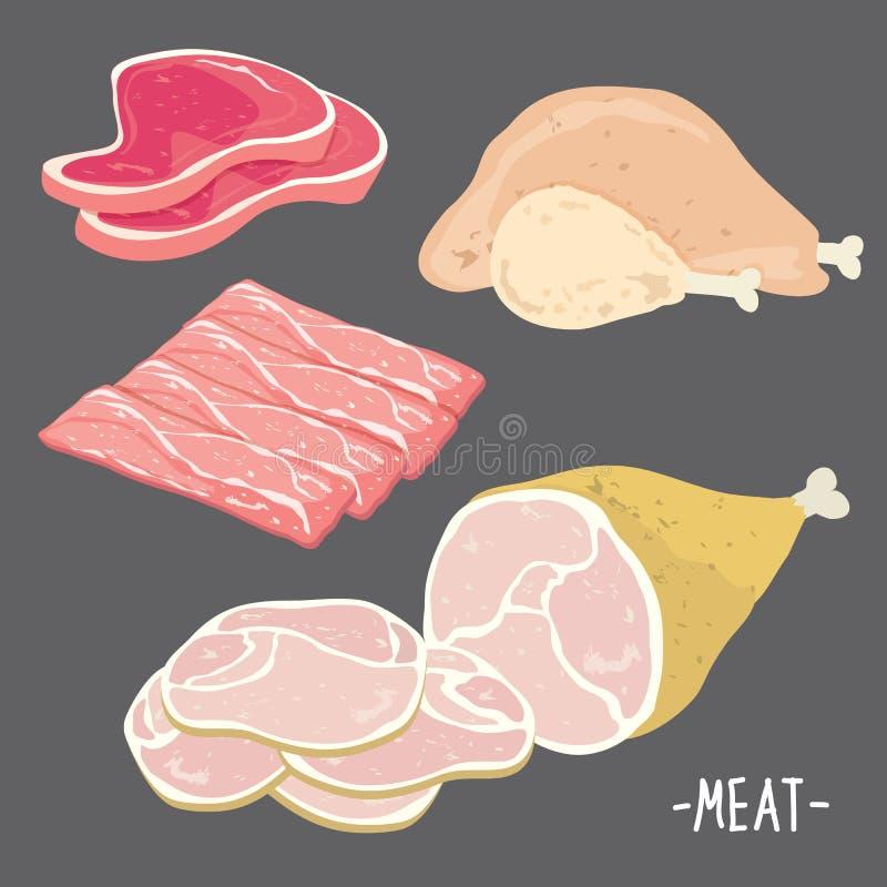 Еда мяса ест вектор шаржа куска части цыпленка бекона свинины говядины свежий сырцовый иллюстрация вектора