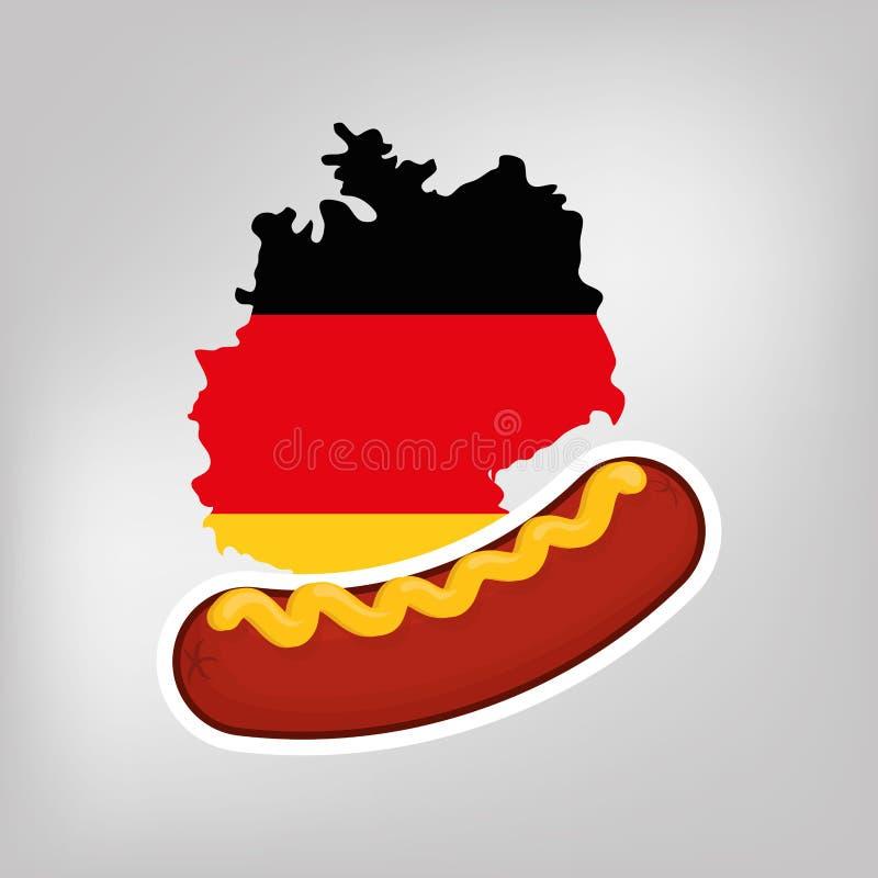 Еда немца сосиски иллюстрация вектора