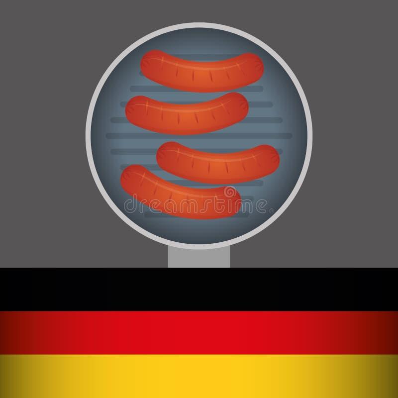 Еда немца сосиски иллюстрация штока