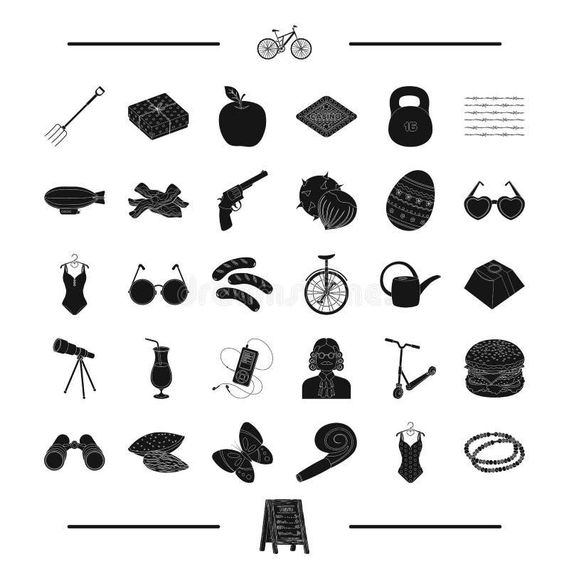 Еда, пасха и другой значок сети в черном стиле транспорт, инструмент, значки кафа в собрании комплекта бесплатная иллюстрация