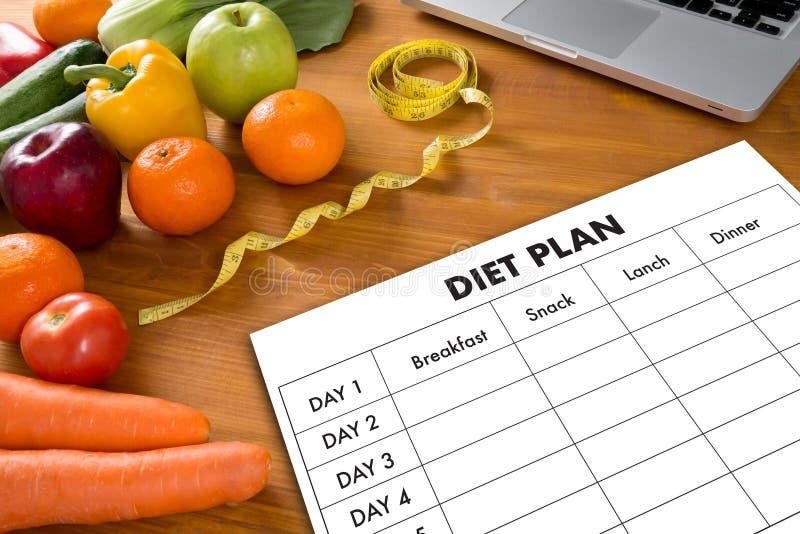 Еда ПЛАНА ДИЕТЫ здоровая, dieting, уменьшающ и весит conce потери стоковые фотографии rf
