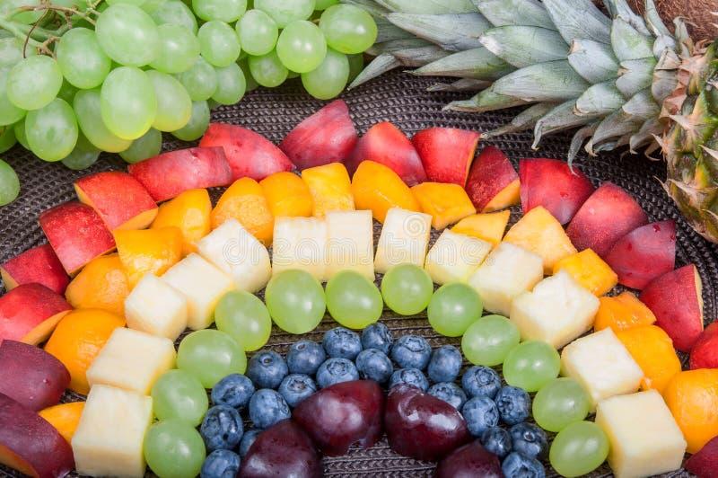 Еда потехи Радуга плодоовощ стоковое фото rf