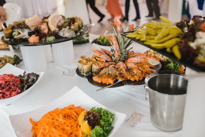 Еда ресторанного обслуживании для wedding стоковое изображение rf