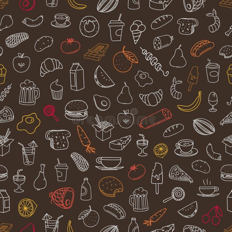 Еда другого цвета doodles безшовная предпосылка иллюстрация штока