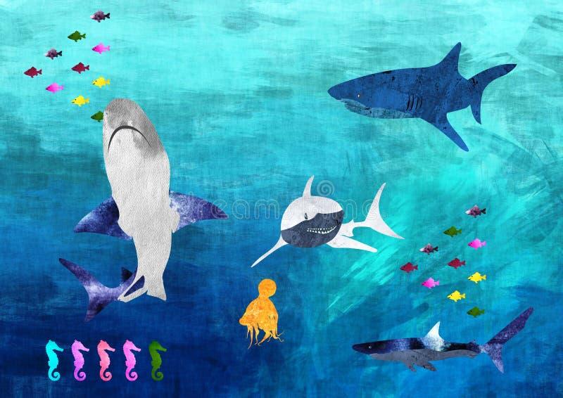 Еда рыб бесплатная иллюстрация