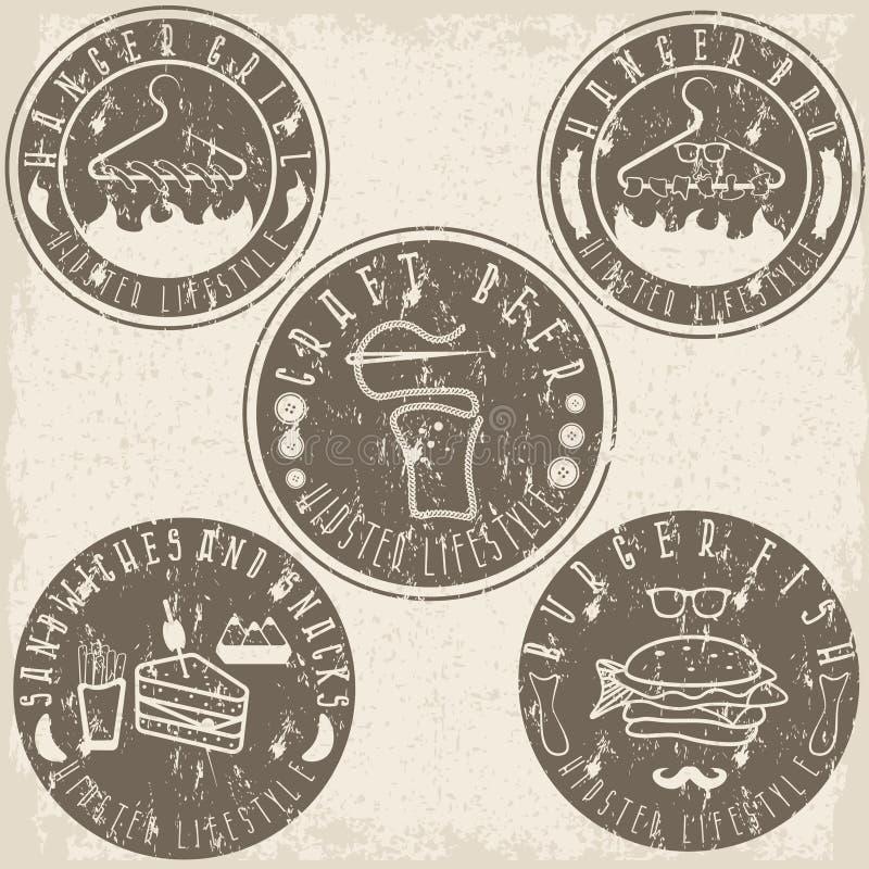 Еда стиля битника обозначает вектор года сбора винограда grunge иллюстрация вектора