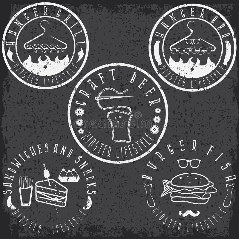 Еда стиля битника обозначает комплект года сбора винограда grunge бесплатная иллюстрация