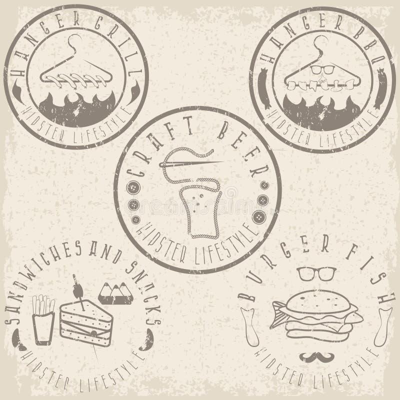 Еда стиля битника обозначает комплект grunge иллюстрация вектора