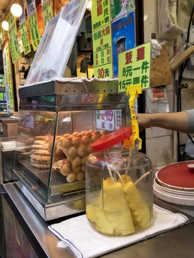Еда улицы в рынке Гонконга стоковые изображения