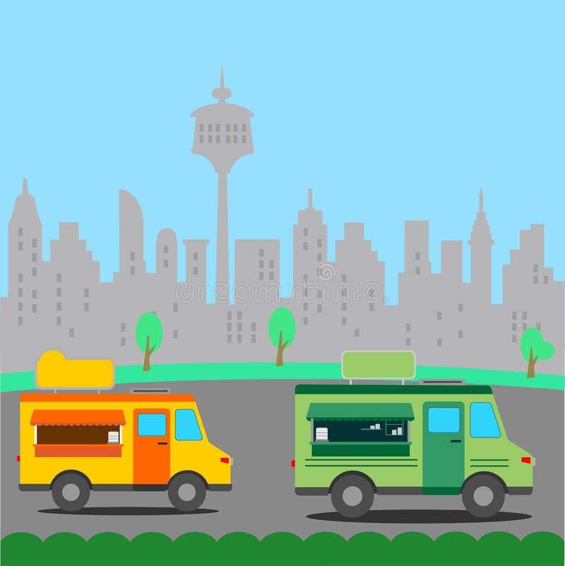 Еда улицы перевозит иллюстрацию на грузовиках иллюстрация штока