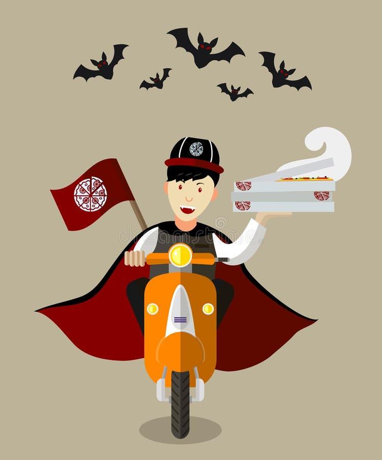 Еда-deliveryboy вампира хеллоуина на самокате с коробками пиццы иллюстрация вектора