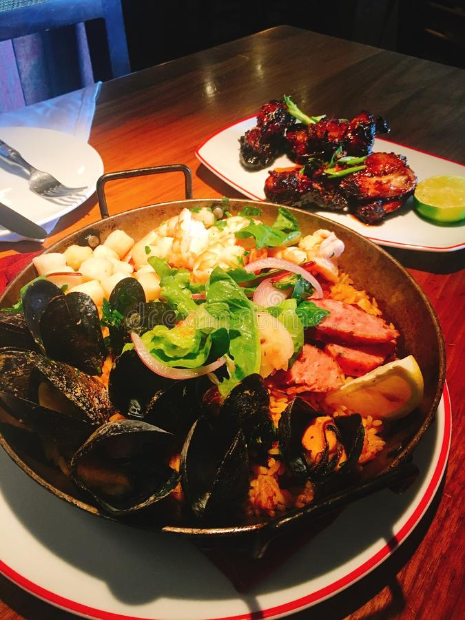 Еда jambalaya морепродуктов самая лучшая стоковые изображения rf
