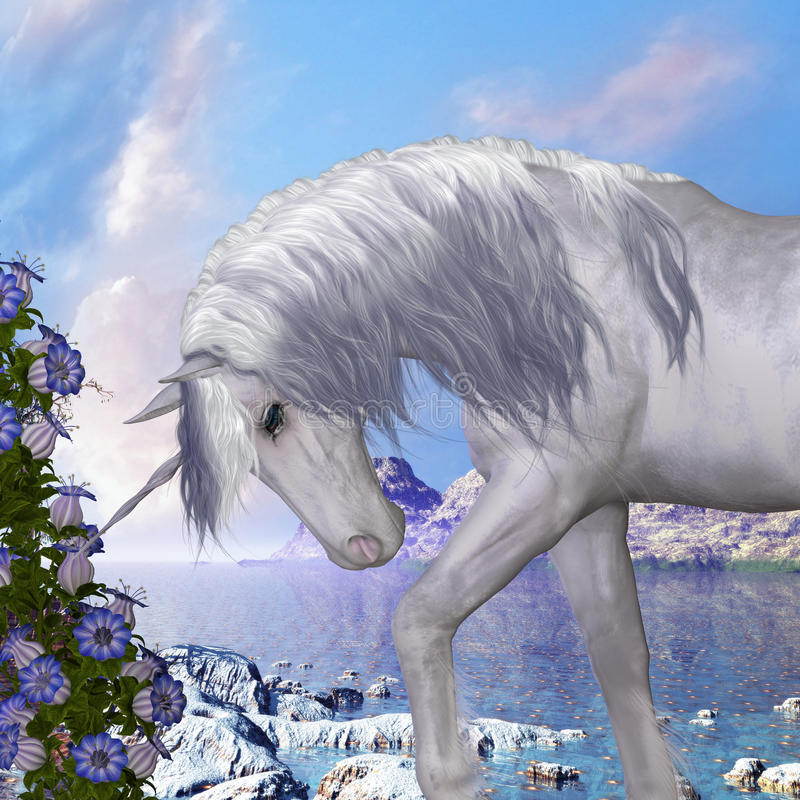 Единорог и голубые цветки колокола бесплатная иллюстрация