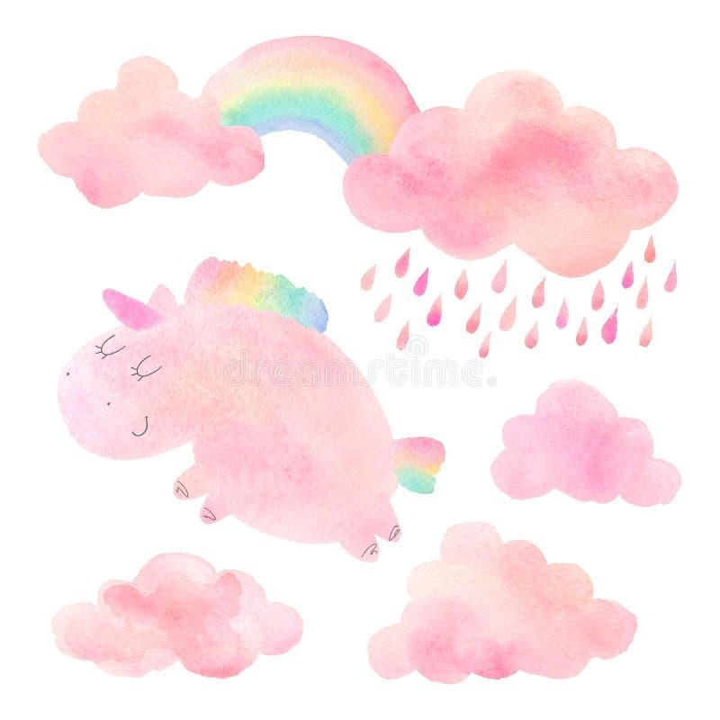 Единорог и облака акварели с дождем и радугой стоковая фотография rf