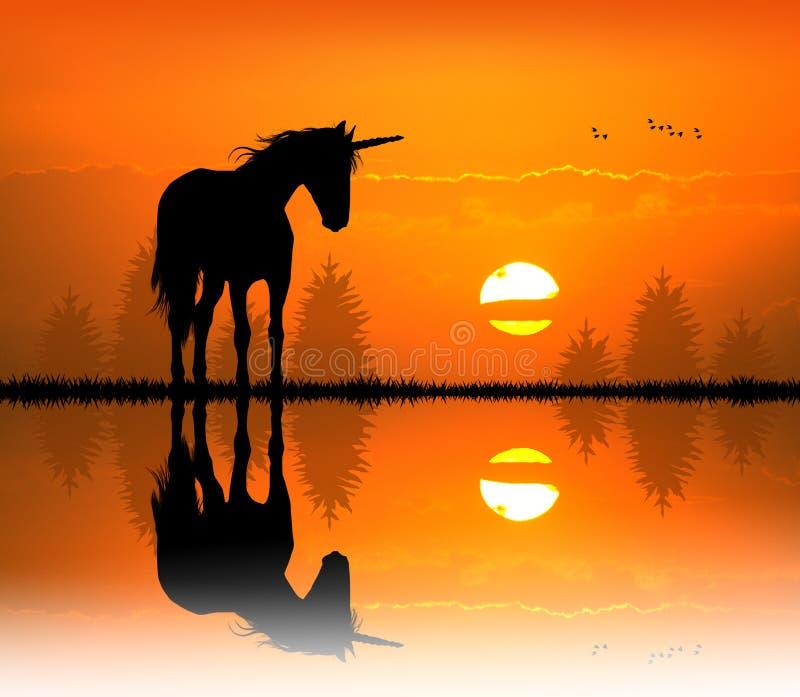 Единорог на заходе солнца иллюстрация вектора
