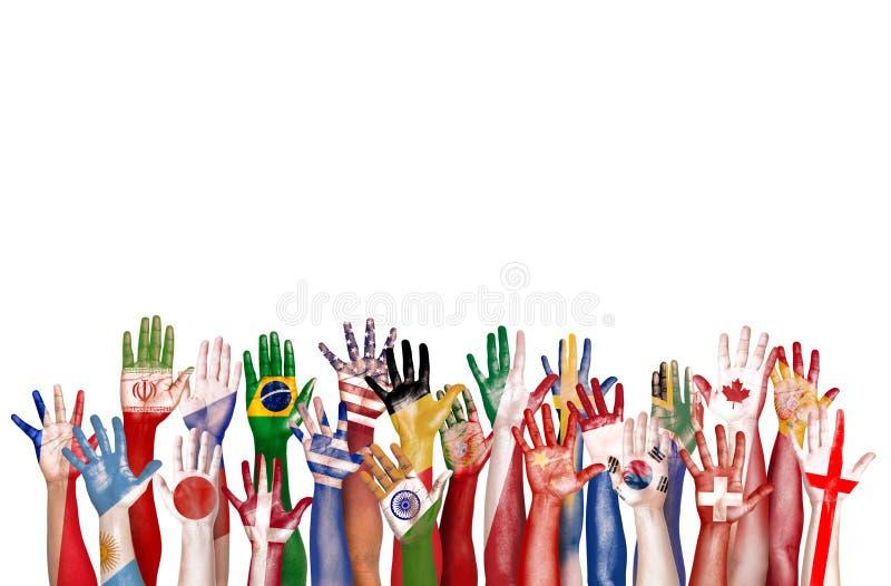 Единство Conce этничности разнообразного разнообразия символа флага рук этническое стоковая фотография