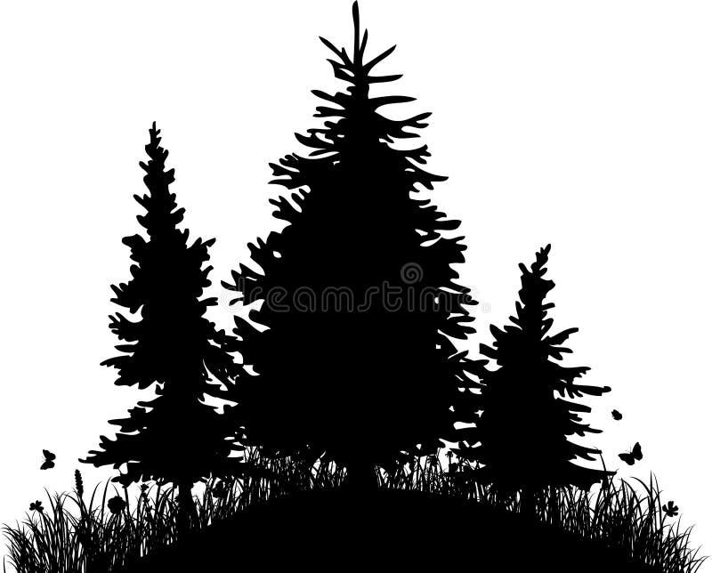 Ели на холме с травой и бабочками иллюстрация вектора