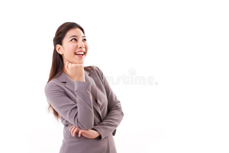 дело счастливое смотрящ вверх женщину стоковое фото rf