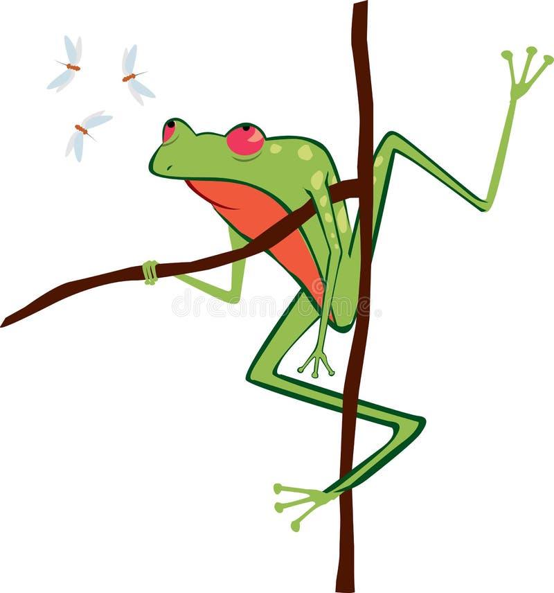 Жаба и мухы иллюстрация вектора