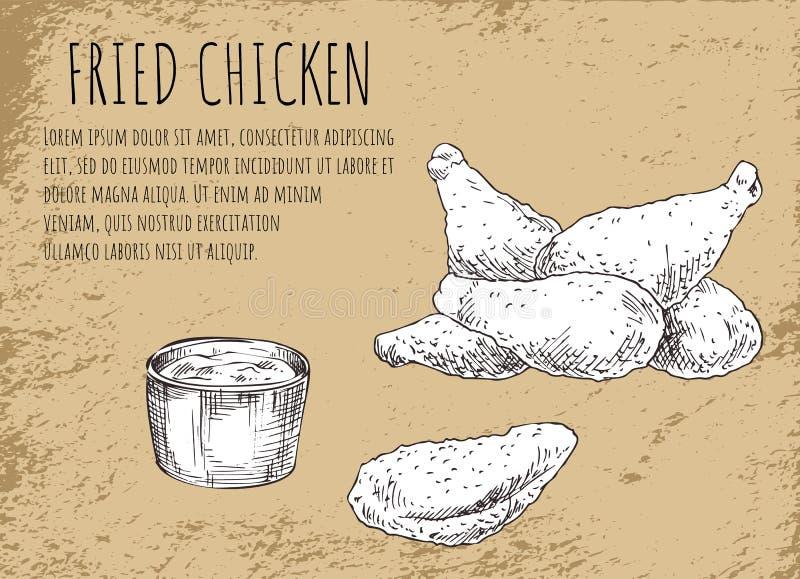 Жареная курица с плакатом эскиза соуса барбекю бесплатная иллюстрация