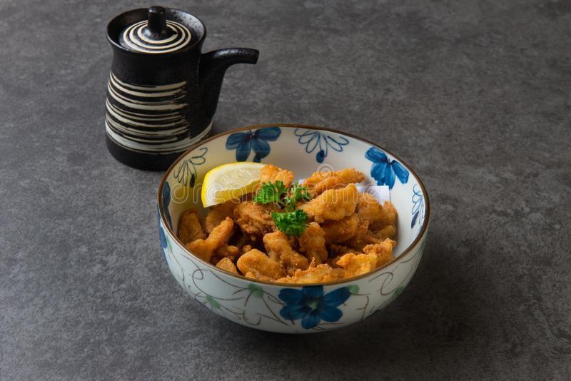 Жареная курица karaage торусов японская глубокая стоковая фотография