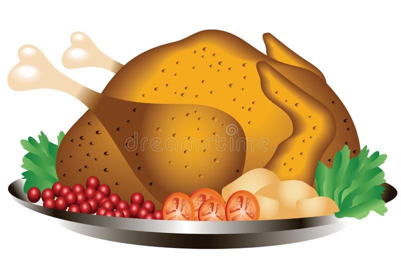 Жареный цыпленок иллюстрация штока