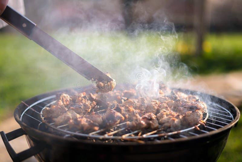 Жарить встречу барбекю на outdoors гриля в заднем дворе Пикник временени Мясо жарить в духовке на решетке металла на горячих угля стоковое изображение rf