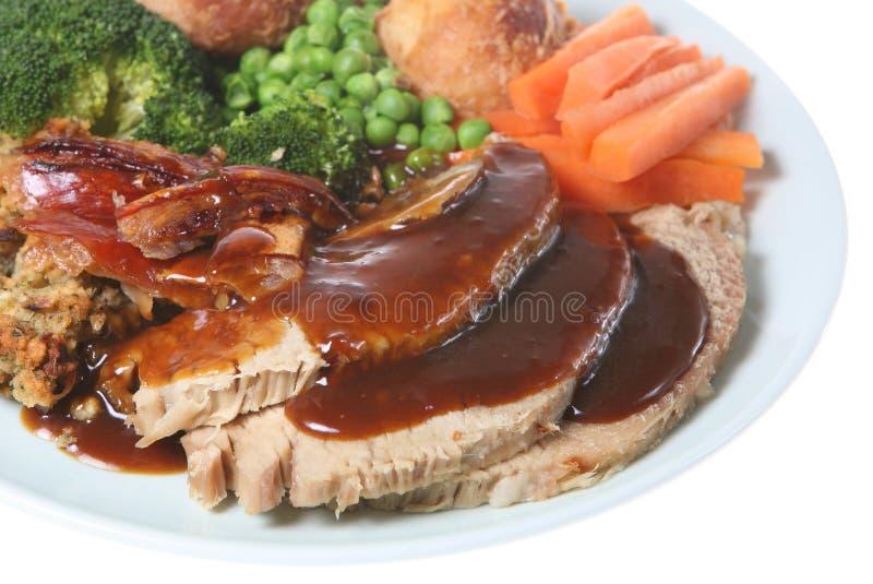 жаркое свинины воскресенье обеда стоковое изображение