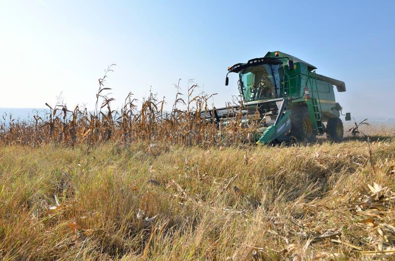 Жатка зернокомбайна на работе на поле стоковое фото rf
