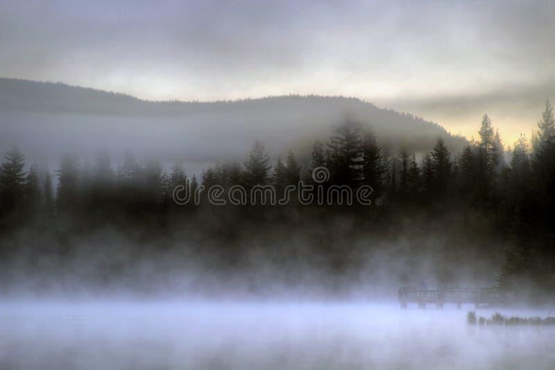 ждать восхода солнца озера стоковое изображение