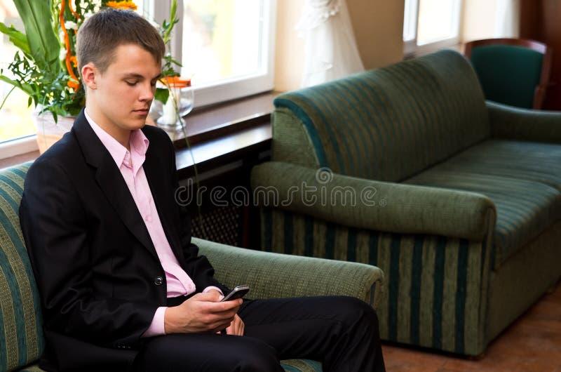 ждать интервью стоковое изображение