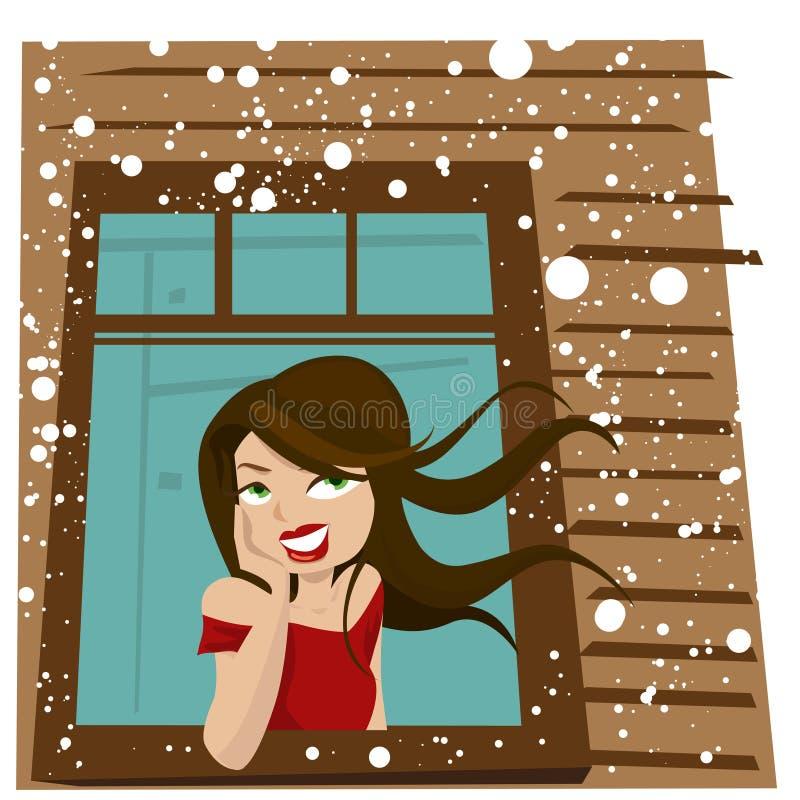 ждет женщину окна бесплатная иллюстрация