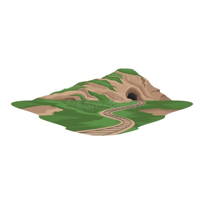 Железная дорога тоннеля под ландшафтом перехода поезда горы иллюстрация штока