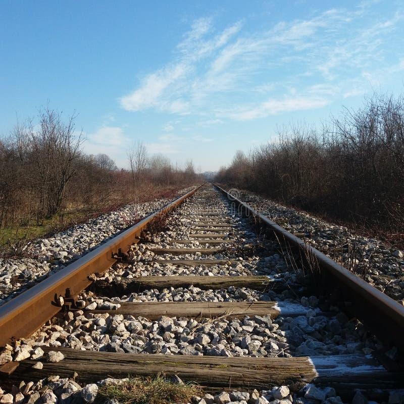 Железнодорожные пути в зиме, лед стоковое фото rf