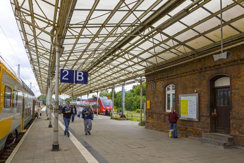 Железнодорожный вокзал Wismar, Mecklenburg-Vorpommern, Германия стоковая фотография