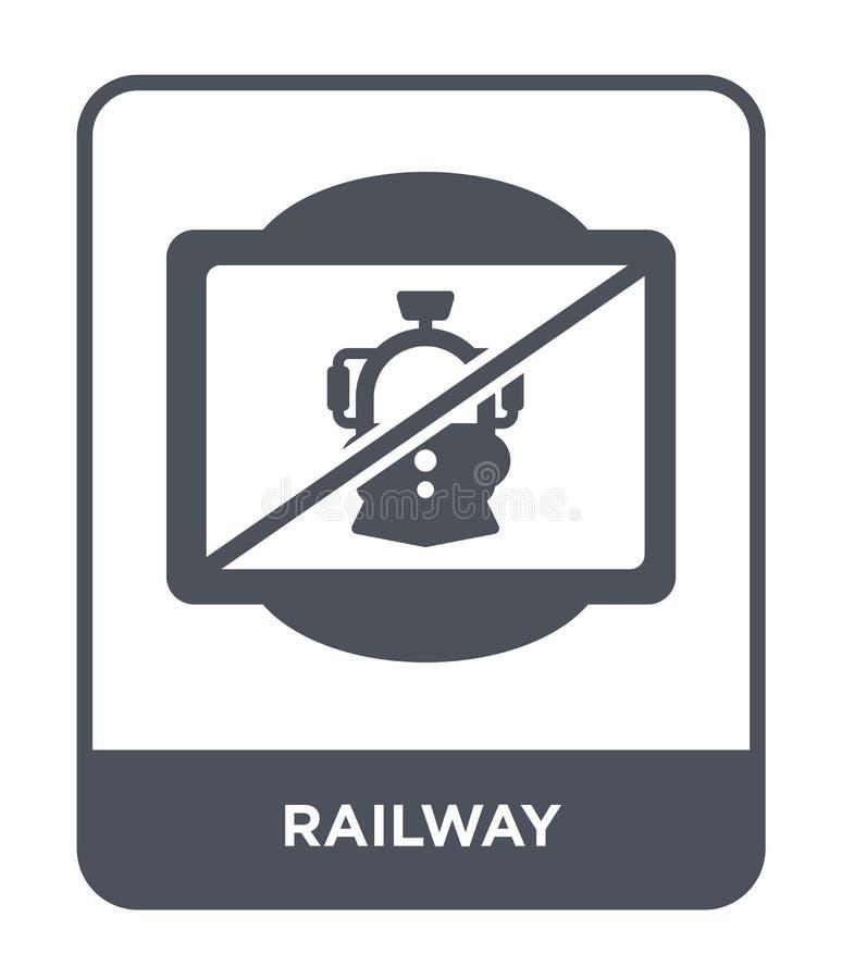 железнодорожный значок в ультрамодном стиле дизайна железнодорожный значок изолированный на белой предпосылке символ железнодорож иллюстрация вектора