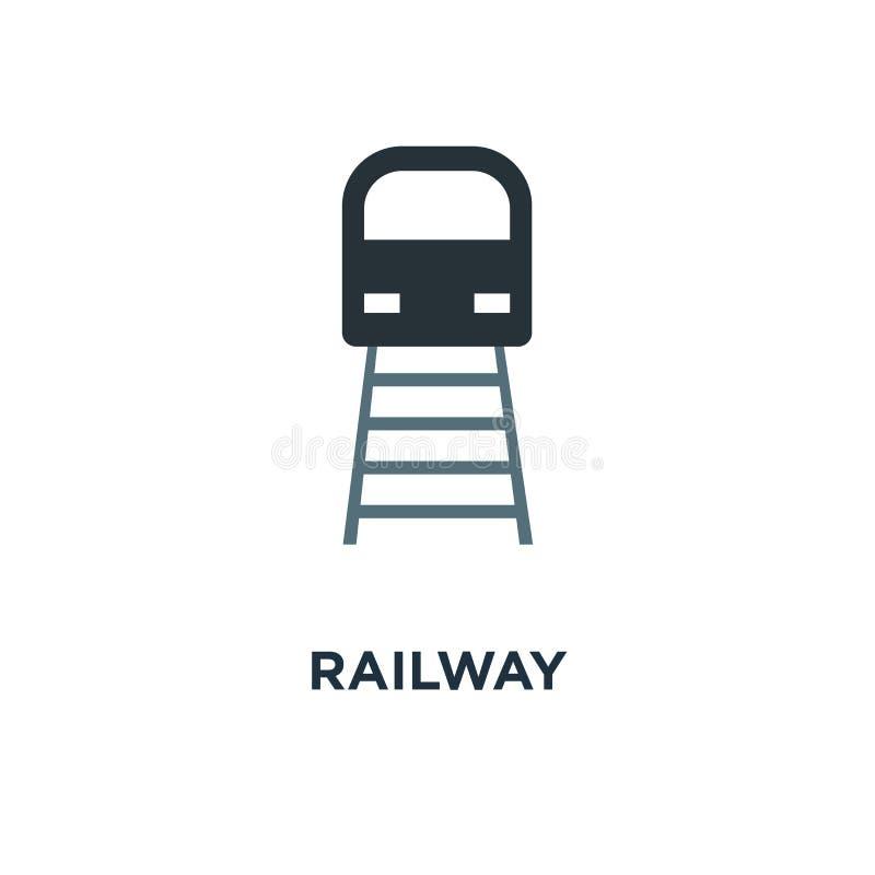 Железнодорожный значок дизайн символа концепции поезда, железнодорожная станция, transpo иллюстрация штока