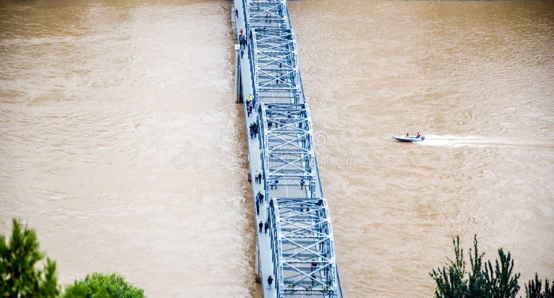 Железнодорожный мост через Реку Хуанхэ стоковое изображение