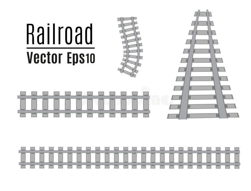 Железнодорожный шаблон вектора Комплект изолированных железных дорог бесплатная иллюстрация
