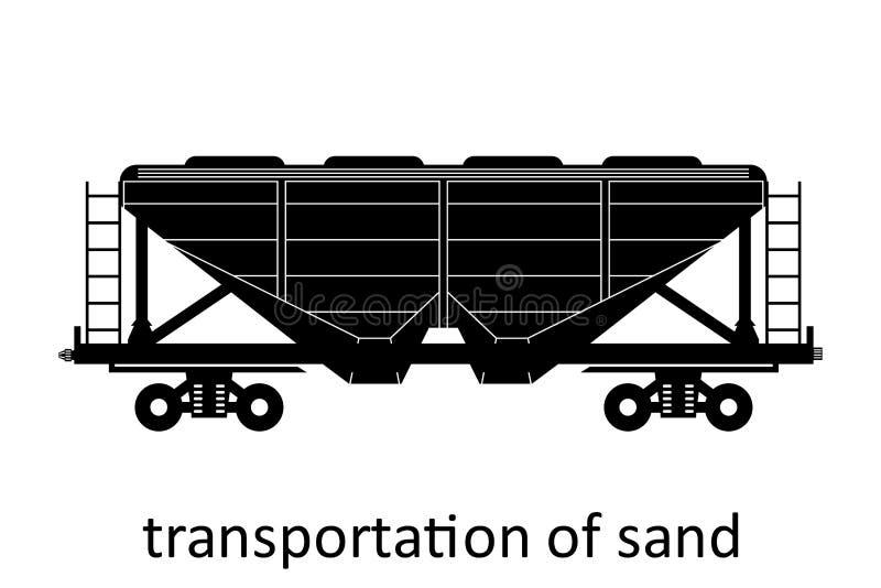 железнодорожный экипаж транспорта песка с именем Груз грузит переход препровождения Взгляд со стороны иллюстрации вектора изолиро иллюстрация вектора