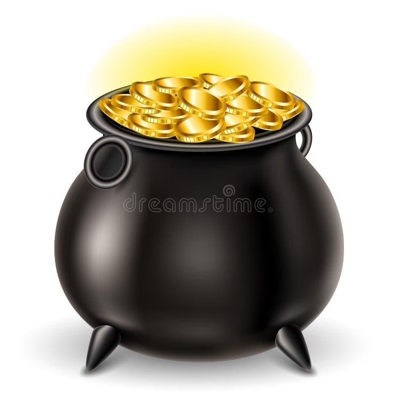 Железный котел вполне с сияющей золотой монеткой, на день ` s St. Patrick бесплатная иллюстрация