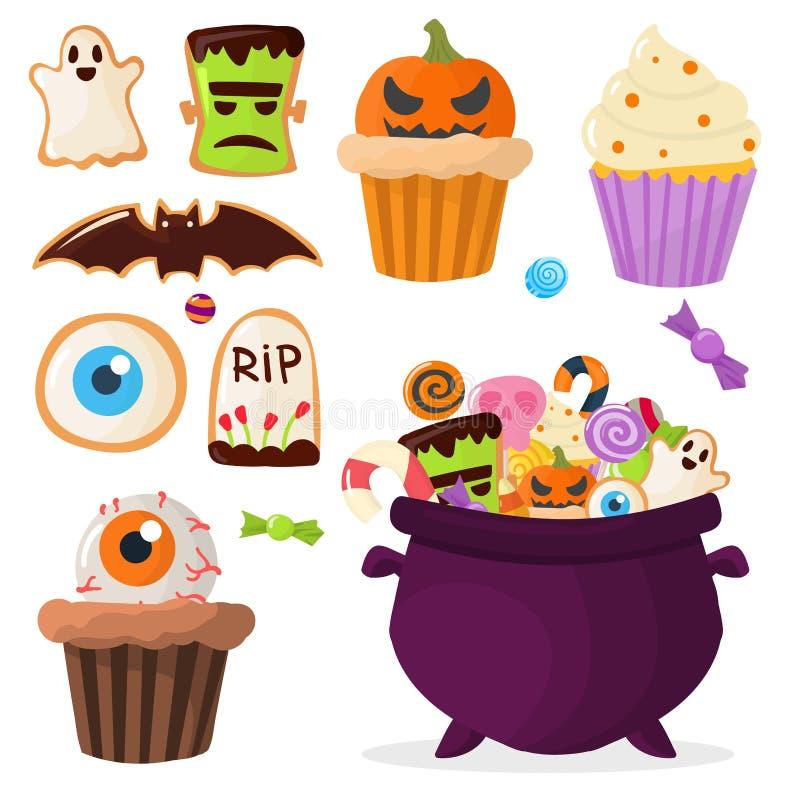 Желейные бобы леденцов на палочке пирожных помадок партии хеллоуина красочные бесплатная иллюстрация