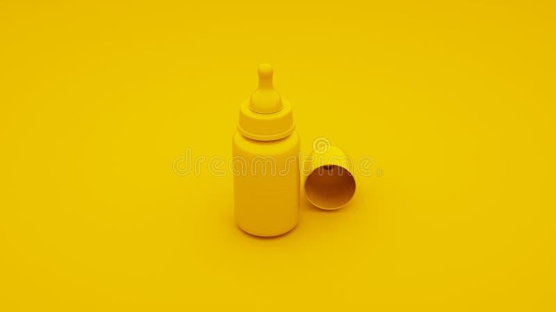 Желтая бутылка младенца иллюстрация 3d бесплатная иллюстрация