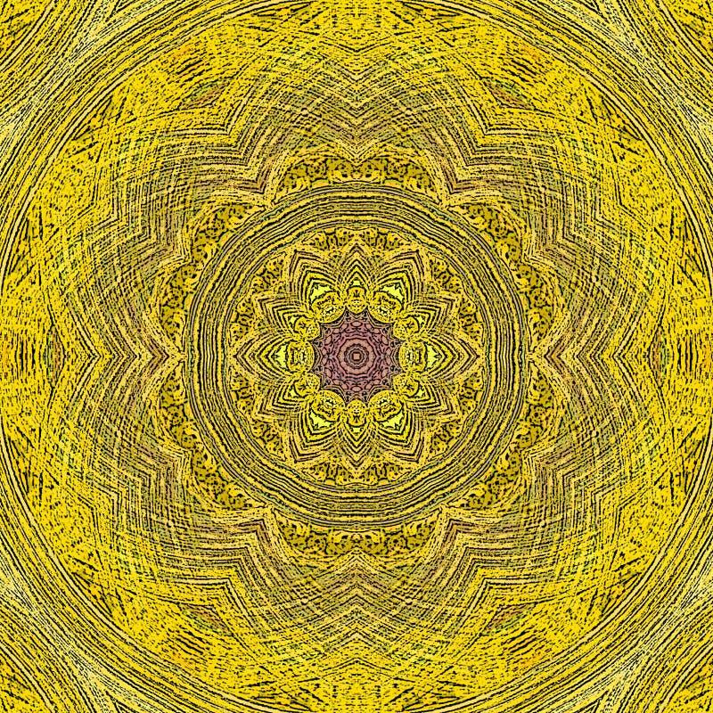 Желтая винтажная мандала плитки с геометрическими элементами круга иллюстрация штока