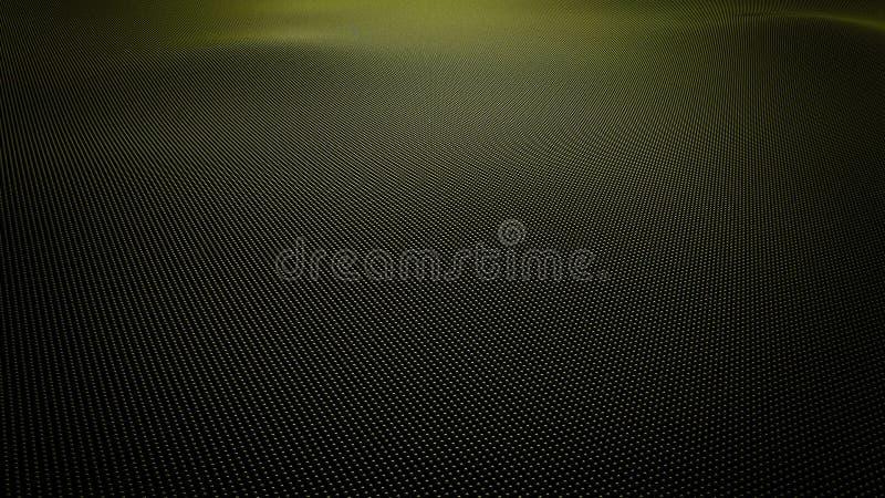 Желтая волнистая поверхность сделанная шариков, перевод 3D иллюстрация штока