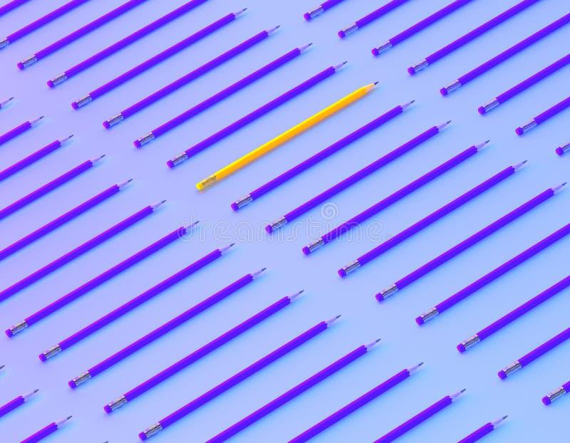 Желтая выдержка карандаша вне от толпы собратьев множества идентичных голубых на голубой пастельной предпосылке r Руководители стоковые фотографии rf