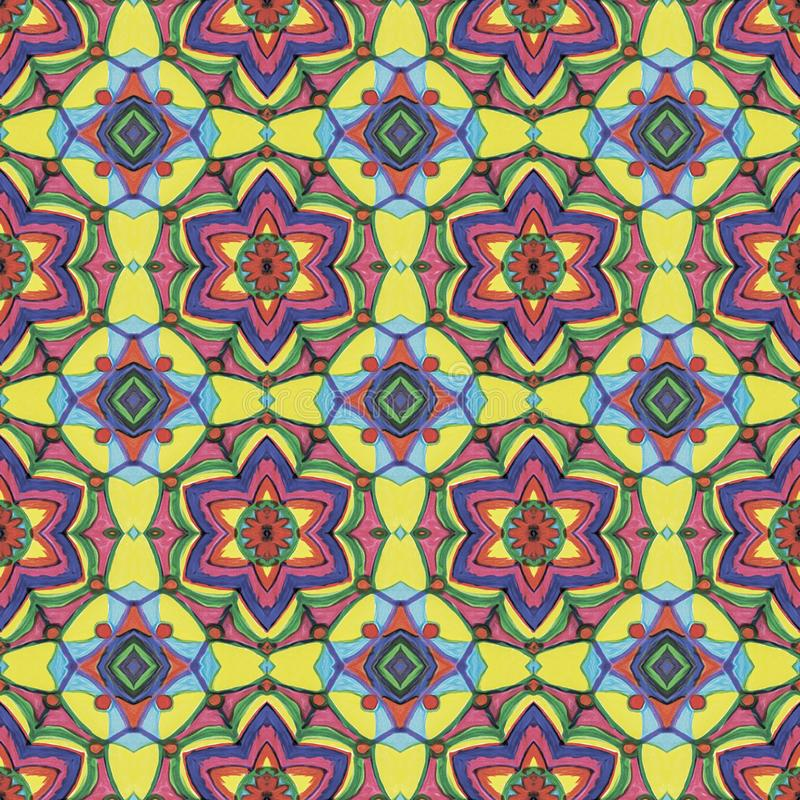 Желтая, голубая, красная, пурпурная геометрическая флористическая безшовная картина иллюстрация вектора