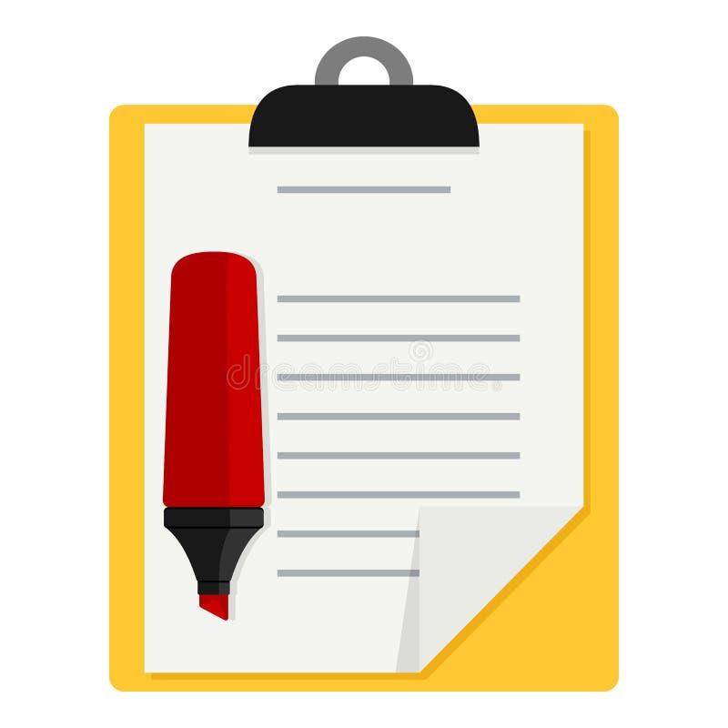 Желтая доска сзажимом для бумаги и красный значок Highlighter иллюстрация вектора