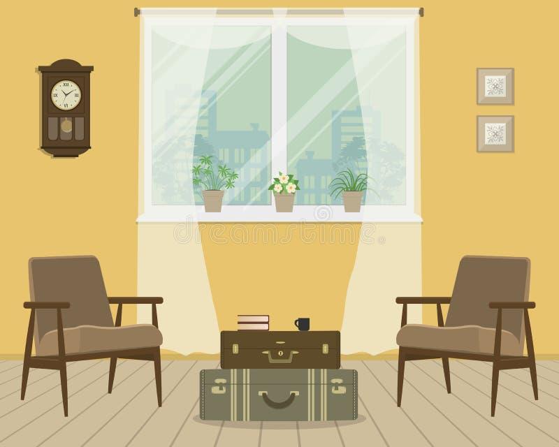 Желтая живущая комната в ретро стиле иллюстрация вектора