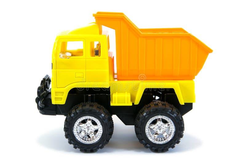 Желтая игрушка грузового пикапа Изолированная игрушка тележки стоковое изображение